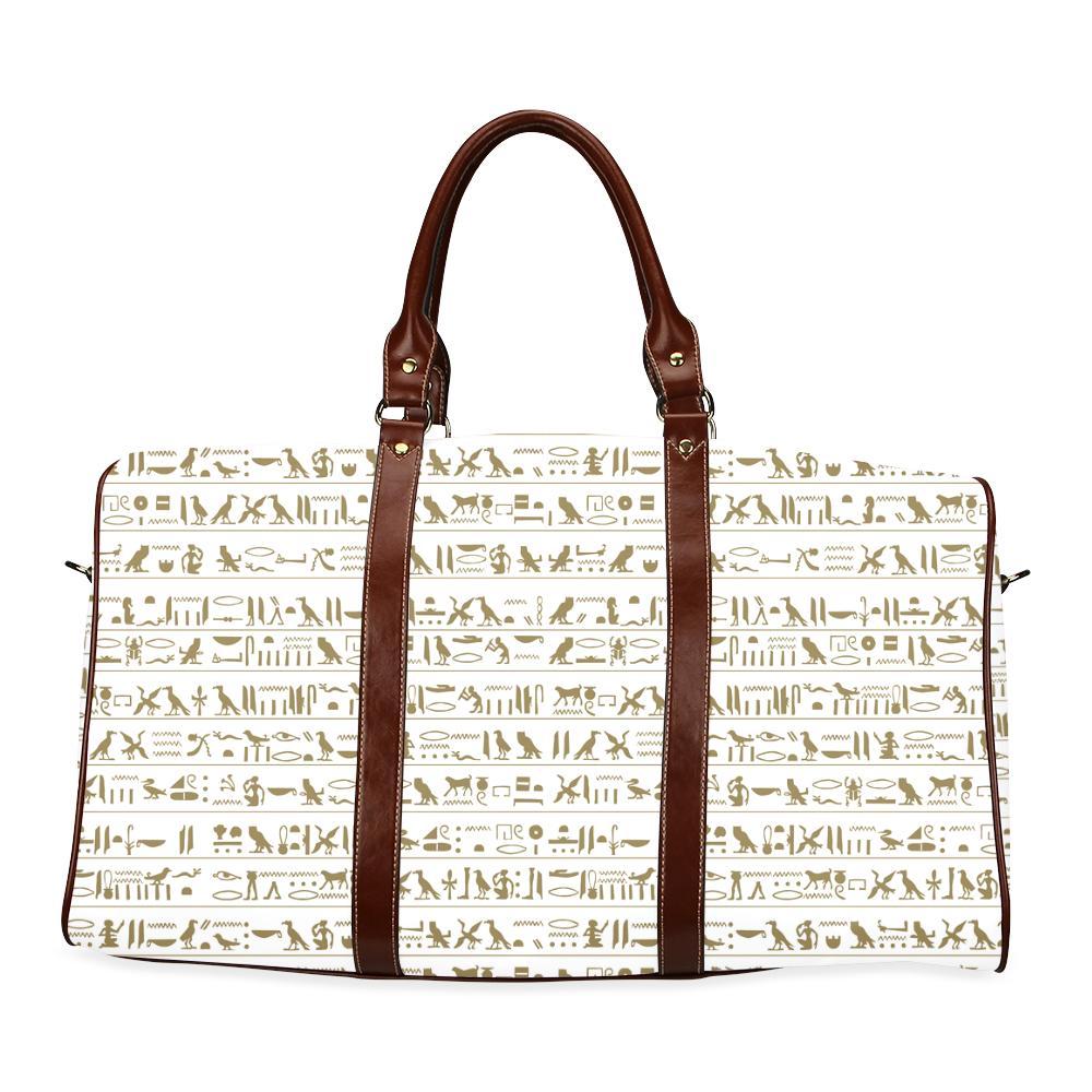 Egyptian Hieroglyphs Large Waterproof Travel Bag - Melanin Apparel